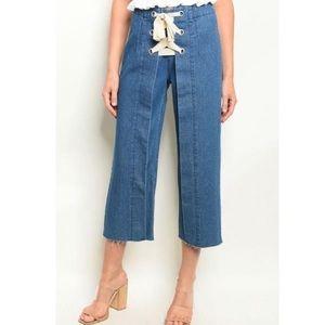 Denim - Vintage Style Lace-up Detail Denim Jeans